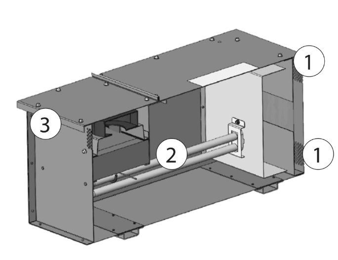Bluezone cutaway showing interior of UV light system