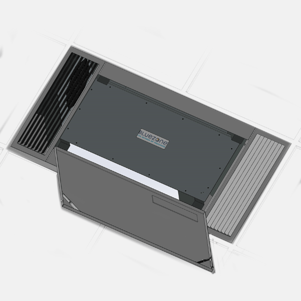Illustration of Bluezone in-ceiling mounted UV air purification system