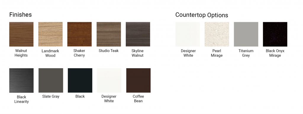 Color chart of exterior credenza and lectern cabinets