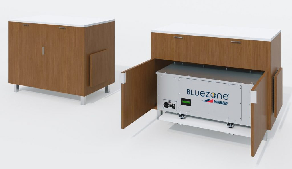 "The Bluezone Viral Kill 48"" Credenza hides the 450 UV air purifier in an attractive credenza"