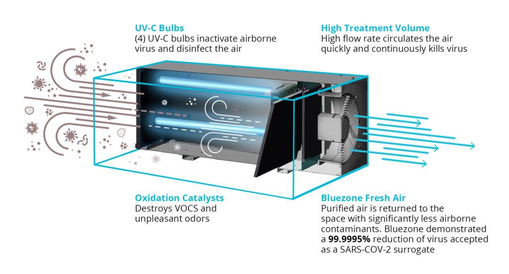Infographic explaining how Bluezone UV-C air purification works