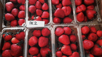 Packages of strawberries