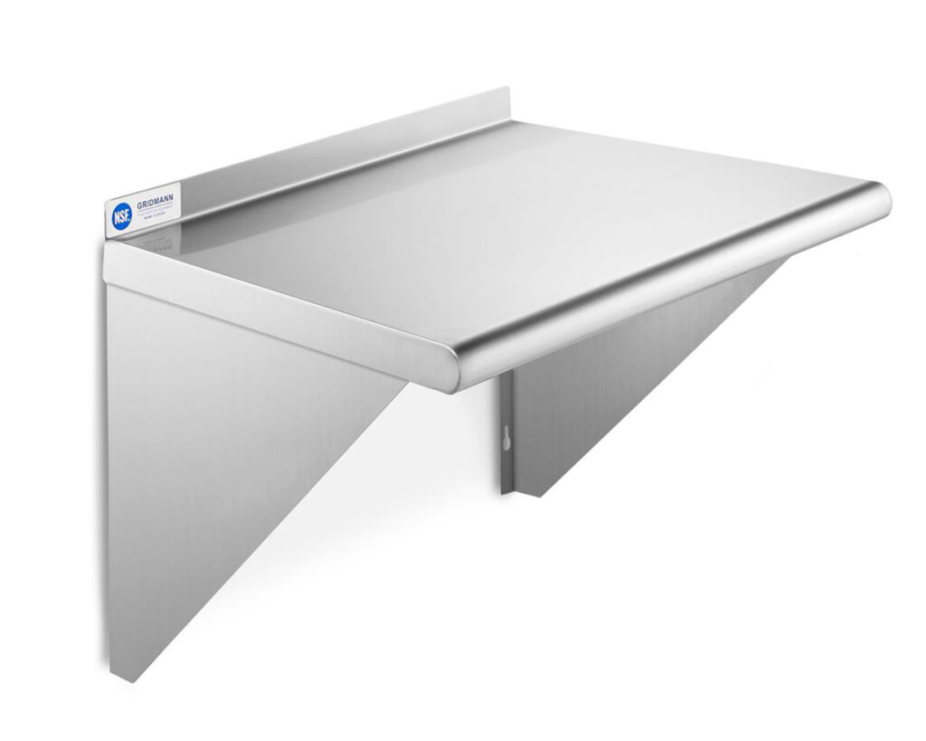 Stainless steel shelf for mounting Bluezone model 300 to wall